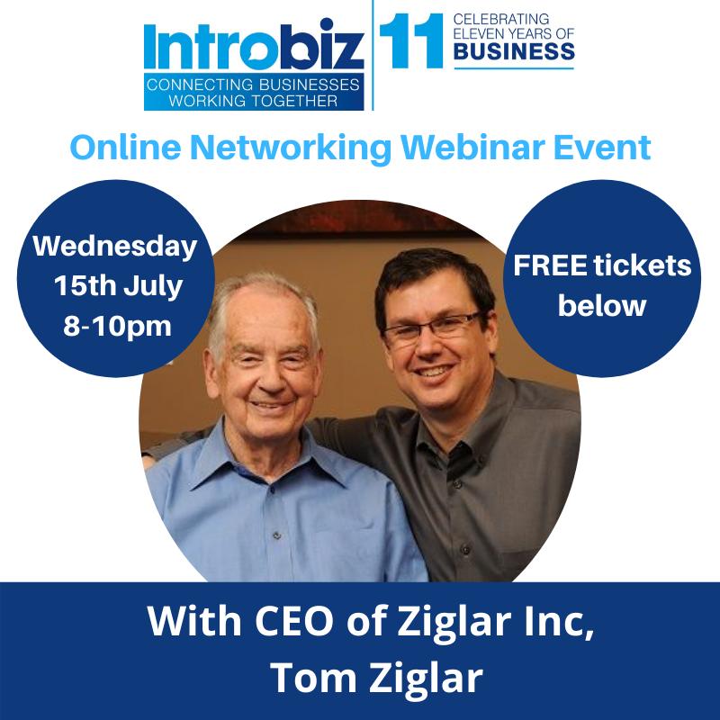 Introbiz online networking event with CEO of Ziglar Inc, Tom Ziglar