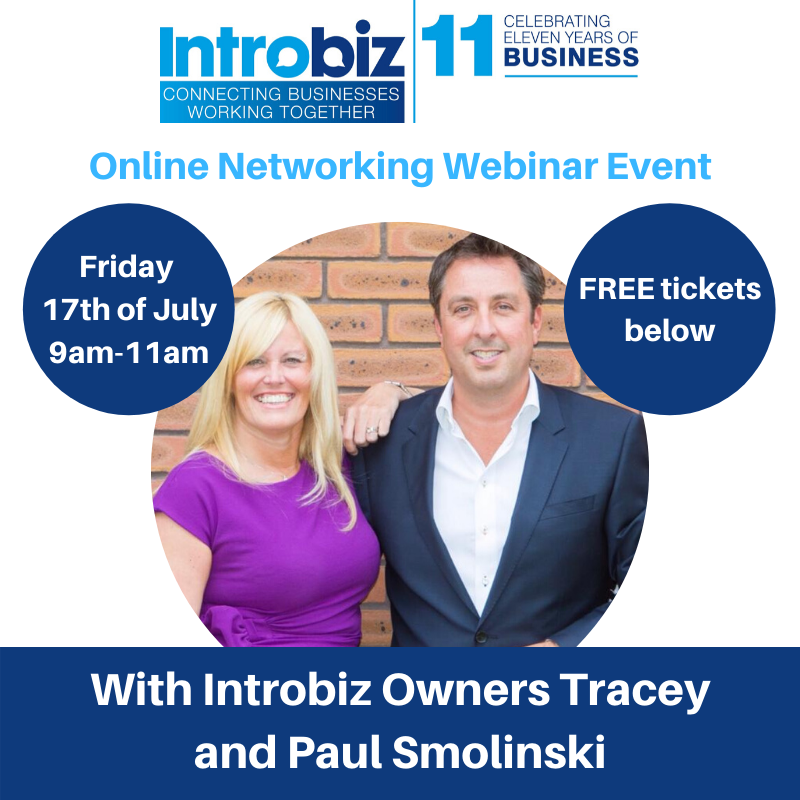 Introbiz online networking event with Introbiz founders, Tracey and Paul Smolinski