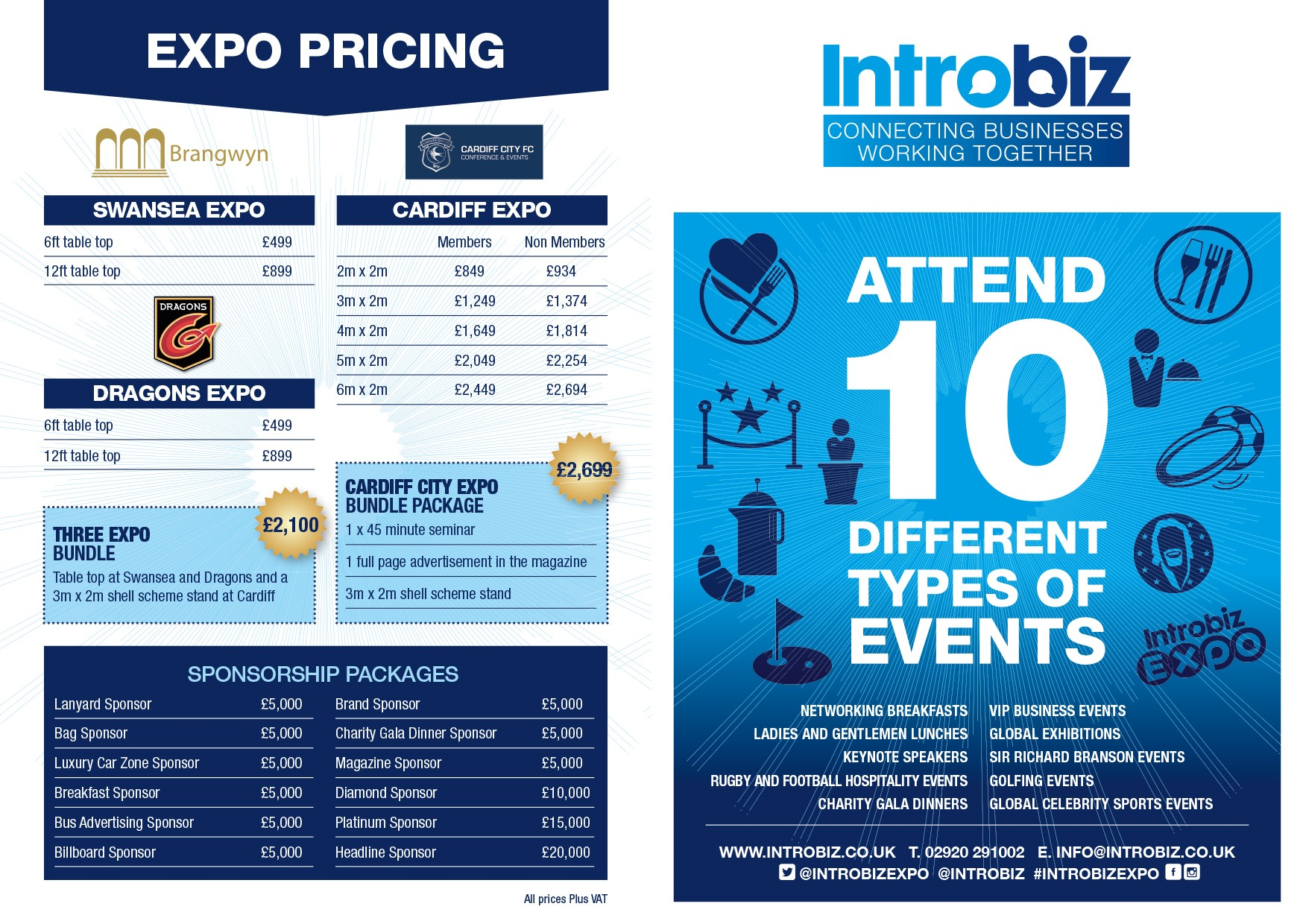 Menu - Introbiz Membership Packages and Stand Pricing